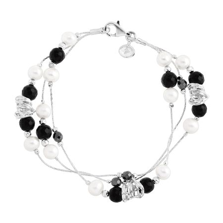 Silpada 'Go Boldly' Natural Onyx, Hematite, & 4-4 5 mm Freshwater Pearl  Bracelet in Sterling Silver, 7 5