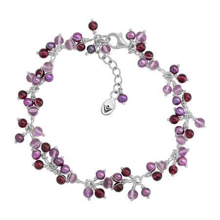 Silpada /'Stacked Up/' Freshwater Pearl /& Natural Amethyst Ring in Sterling Silver