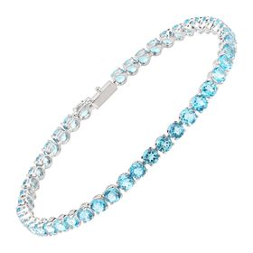 Swiss Blue Topaz Tennis Bracelet, White