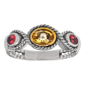 3/8 ct Citrine & 1/4 ct Garnet Ring