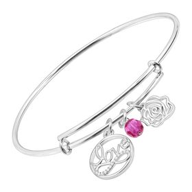 Expandable Multi-Charm Bangle Bracelet with Swarovski Zirconia