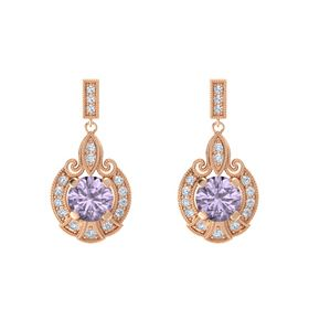 Round Rose de France 14K Rose Gold Earring with Diamond