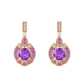 Round Amethyst 14K Rose Gold Earrings with Amethyst & Diamond