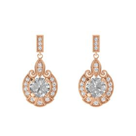 Round Rock Crystal 14K Rose Gold Earring with White Sapphire and Diamond