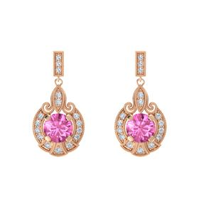 Round Pink Sapphire 14K Rose Gold Earrings with Diamond