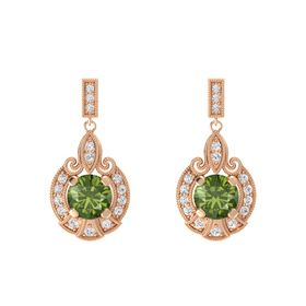 Round Green Tourmaline 14K Rose Gold Earrings with White Sapphire