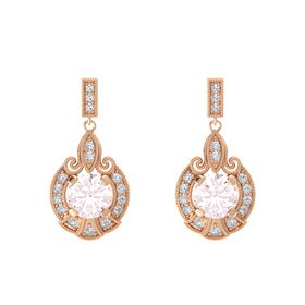 Round Rose Quartz 14K Rose Gold Earring with Diamond