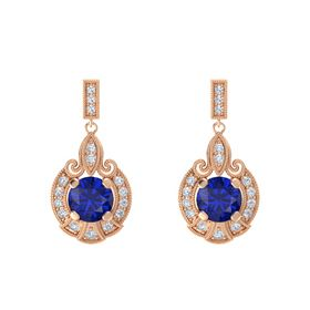Round Blue Sapphire 14K Rose Gold Earring with Diamond