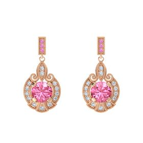 Round Pink Tourmaline 14K Rose Gold Earring with Diamond and Pink Sapphire