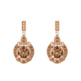 Round Smoky Quartz 14K Rose Gold Earrings with Smoky Quartz
