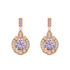 Round Rose de France 14K Rose Gold Earring with White Sapphire and Iolite
