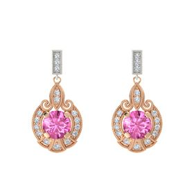 Round Pink Sapphire 14K Rose Gold Earring with Diamond