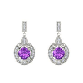 Round Amethyst 14K White Gold Earrings with Diamond