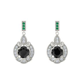 Round Black Diamond 14K White Gold Earring with Diamond and Emerald