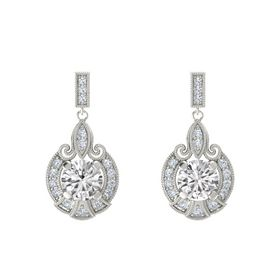 Round White Sapphire 14K White Gold Earrings with Diamond