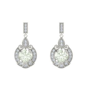 Round Green Amethyst 14K White Gold Earrings with Diamond