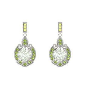 Round Green Amethyst 14K White Gold Earring with Peridot