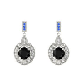 Round Black Onyx 14K White Gold Earring with White Sapphire and Blue Sapphire