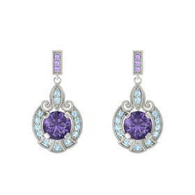 Round Iolite 14K White Gold Earring with Aquamarine and Iolite