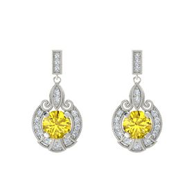 Round Yellow Sapphire 14K White Gold Earring with Diamond