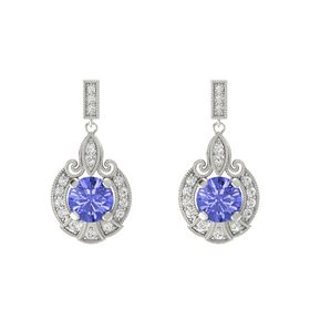 Round Tanzanite 14K White Gold Earring with White Sapphire