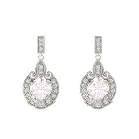 Round Rose Quartz 14K White Gold Earring with White Sapphire