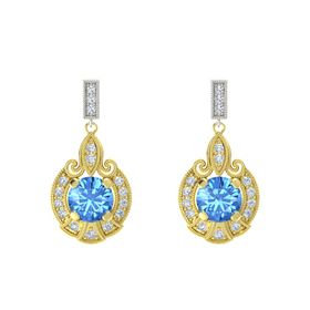 Round Blue Topaz 14K Yellow Gold Earrings with Diamond