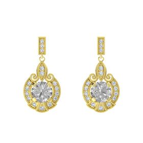 Round Rock Crystal 14K Yellow Gold Earring with Diamond