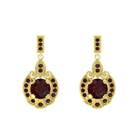 Round Red Garnet 14K Yellow Gold Earring with Red Garnet