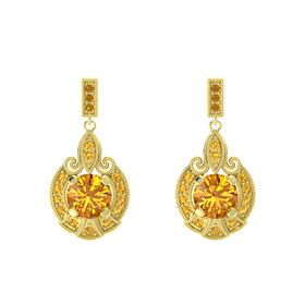 Round Citrine 14K Yellow Gold Earring with Citrine