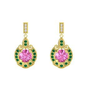 Round Pink Sapphire 14K Yellow Gold Earring with Emerald and White Sapphire