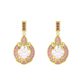 Round Rose Quartz 14K Yellow Gold Earring with Pink Tourmaline and Rhodolite Garnet