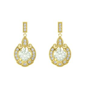 Round Green Amethyst 14K Yellow Gold Earring with Diamond