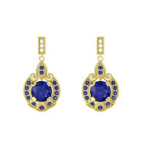 Round Blue Sapphire 14K Yellow Gold Earring with Blue Sapphire and Aquamarine