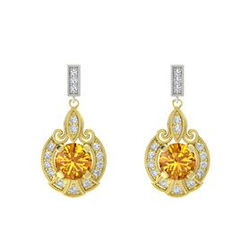Round Citrine 14K Yellow Gold Earrings with Diamond