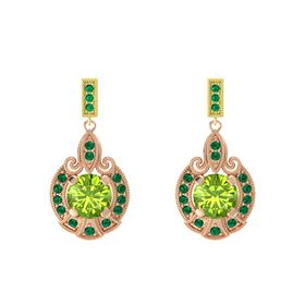 Round Peridot 18K Rose Gold Earring with Emerald