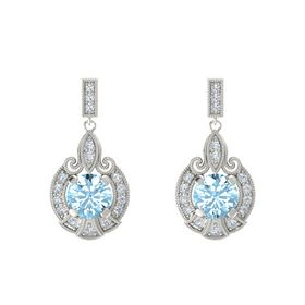 Round Aquamarine 18K White Gold Earring with Diamond