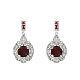 Round Red Garnet 18K White Gold Earring with Diamond and Ruby