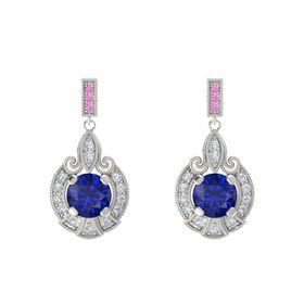 Round Blue Sapphire 18K White Gold Earring with Diamond and Pink Sapphire
