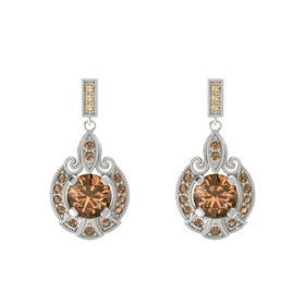 Round Smoky Quartz 18K White Gold Earring with Smoky Quartz
