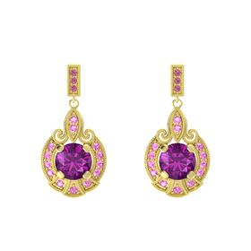 Round Rhodolite Garnet 18K Yellow Gold Earring with Pink Tourmaline