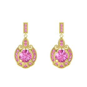 Round Pink Sapphire 18K Yellow Gold Earring with Pink Sapphire