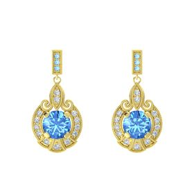 Round Blue Topaz 18K Yellow Gold Earrings with Diamond & Blue Topaz