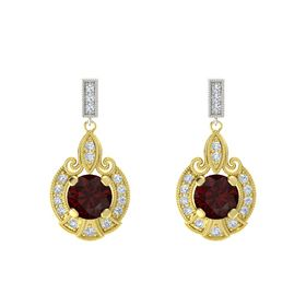 Round Red Garnet 18K Yellow Gold Earrings with Diamond