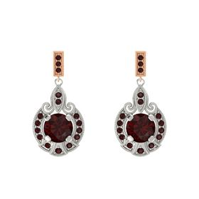 Round Red Garnet Palladium Earrings with Red Garnet