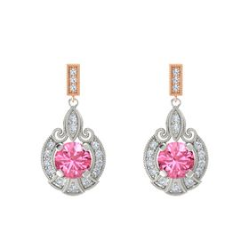 Round Pink Tourmaline Palladium Earring with Diamond
