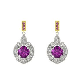 Round Rhodolite Garnet Palladium Earring with Rock Crystal and Rhodolite Garnet