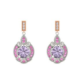 Round Rose de France Palladium Earring with Pink Sapphire and Diamond