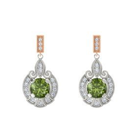 Round Green Tourmaline Palladium Earring with Diamond