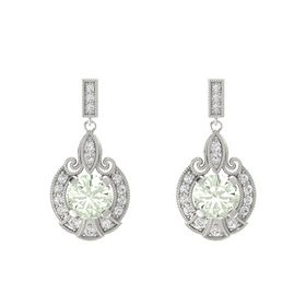 Round Green Amethyst Palladium Earrings with White Sapphire